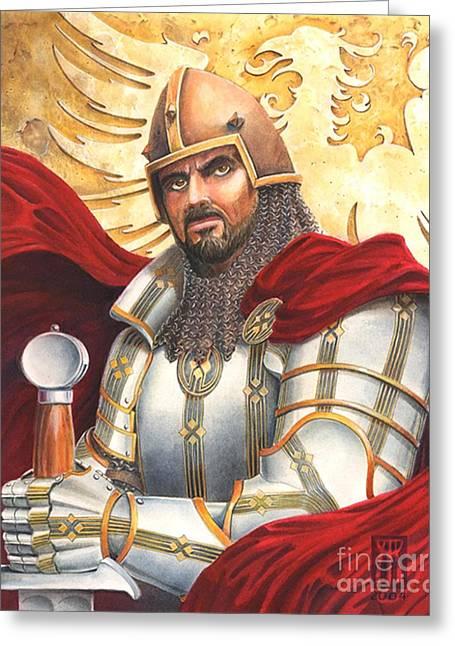 Camelot Mixed Media Greeting Cards - Sir Gawain Greeting Card by Melissa A Benson