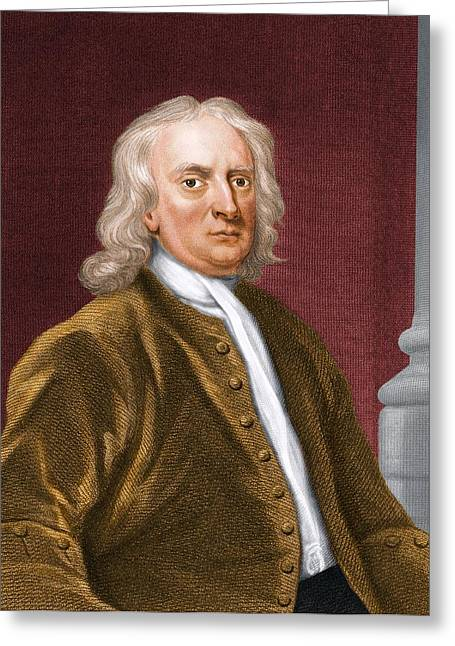 British Portraits Greeting Cards - Sir Isaac Newton, British Physicist Greeting Card by Maria Platt-evans