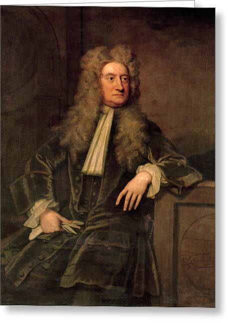 Mind Paintings Greeting Cards - Sir Isaac Newton  Greeting Card by Sir Godfrey Kneller
