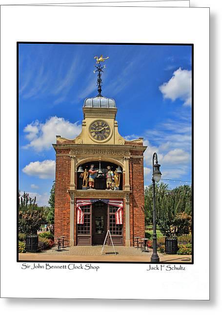 Clock Shop Greeting Cards - Sir John Bennett Clock Shop Greeting Card by Jack Schultz