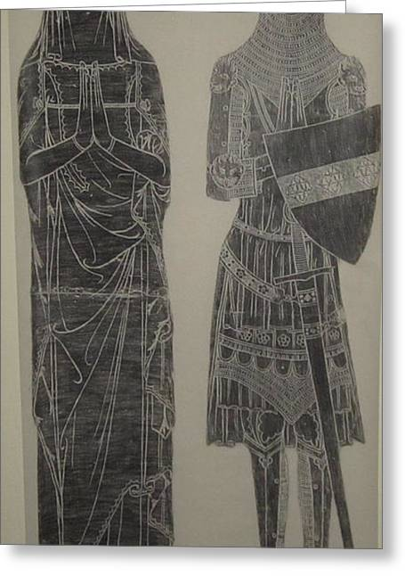 Brass Rubbing Greeting Cards - Sir John de Creke and wife Greeting Card by John Dillon