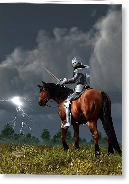 Valor Greeting Cards - Sir Lightning Rod Greeting Card by Daniel Eskridge