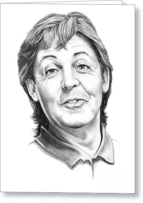 Mccartney Drawings Greeting Cards - Sir Paul McCartney Greeting Card by Murphy Elliott