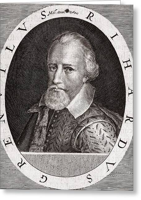 Heroologia Anglica Greeting Cards - Sir Richard Grenville, English Explorer Greeting Card by Middle Temple Library