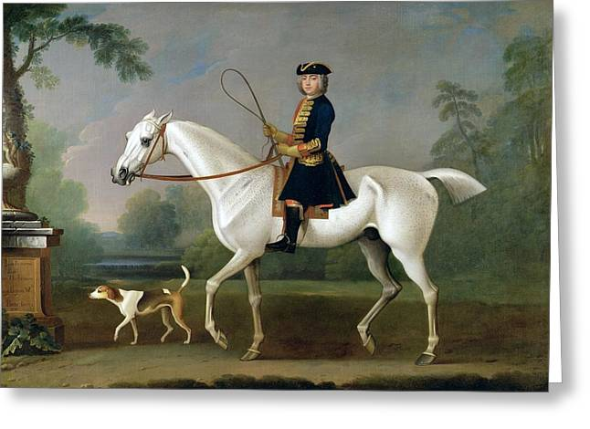 Horse Whip Greeting Cards - Sir Roger Burgoyne Riding Badger Greeting Card by James Seymour