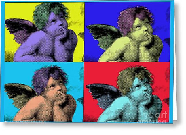 Splashy Art Greeting Cards - Sisteen Chapel BLUE CHERUB ANGELS after Michelangelo after Warhol Robert R Splashy Art POP ART PRINT Greeting Card by Robert R Splashy Art