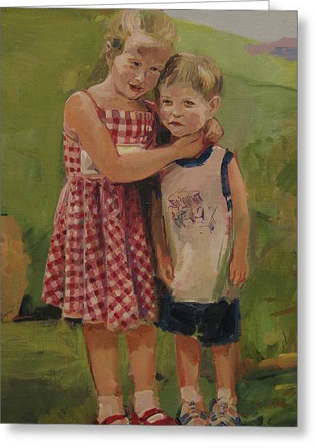 Model Greeting Cards - Sister and brother Greeting Card by Tigran Ghulyan