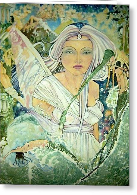 Angel Mermaids Ocean Greeting Cards - Sister Angel Greeting Card by Jackie Rock