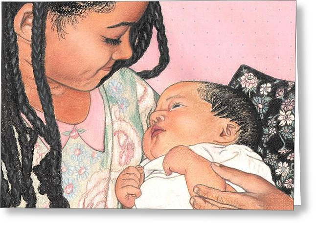 African-american Pastels Greeting Cards - Sister Greeting Card by Paula  Parker