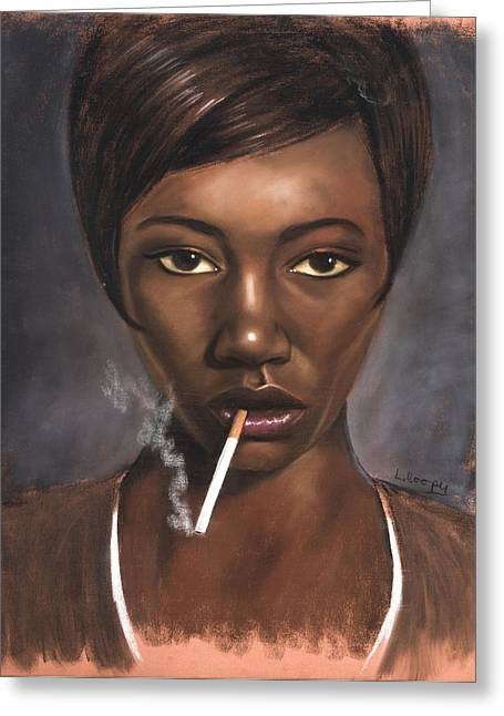 African-americans Pastels Greeting Cards - Sister with Cigarette Greeting Card by L Cooper