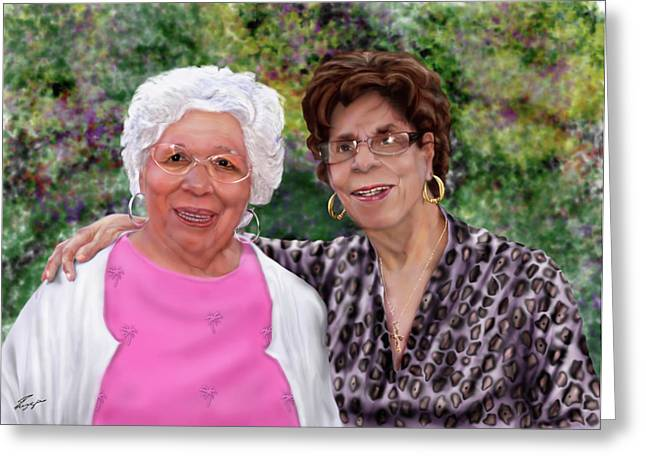 African-american Greeting Cards - Sisters -commissioned  Greeting Card by Reggie Duffie