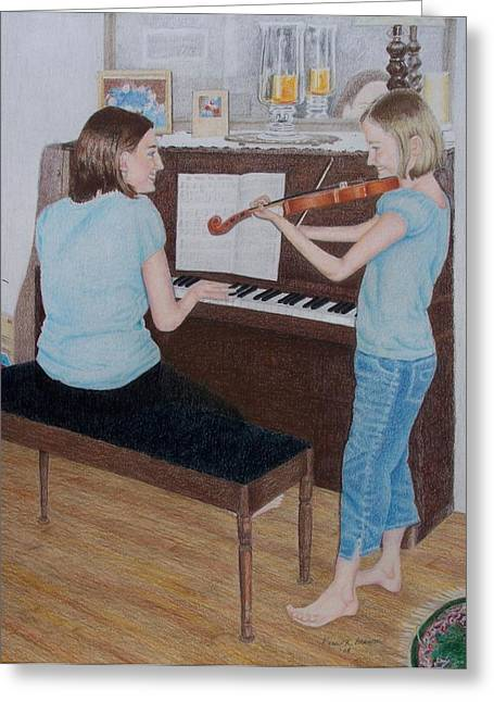 Sisters Greeting Card by Karen Brannon