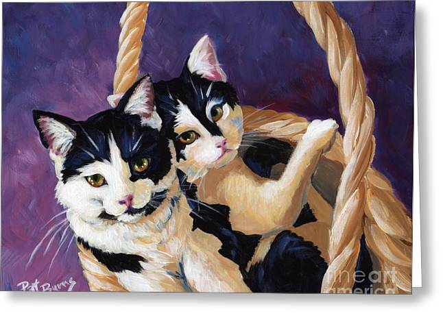 Cat Companions Greeting Cards - Sisters Greeting Card by Pat Burns