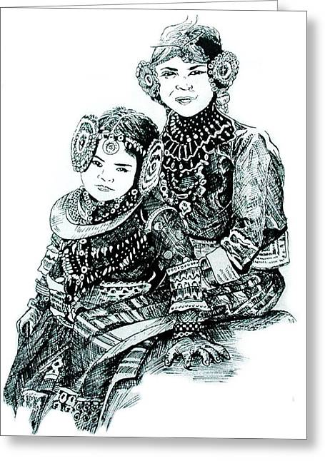 Two Girls Hugging Greeting Cards - Sisters Greeting Card by Ramneek Narang