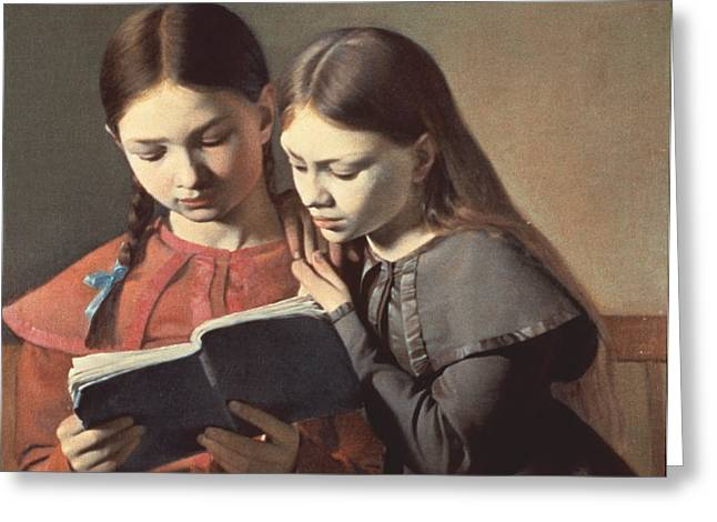 Sisters Reading a Book Greeting Card by Carl Hansen