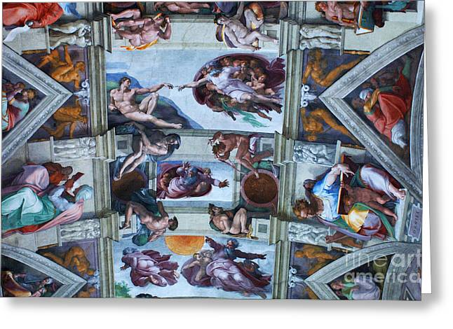 Michelangelo Greeting Cards - Sistine Chapel Ceiling Greeting Card by Bob Christopher