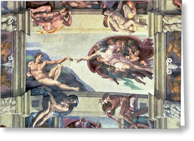 Michelangelo Greeting Cards - Sistine Chapel Ceiling Creation of Adam Greeting Card by Michelangelo