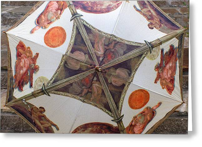 Umbrellas Greeting Cards - Sistine Chapel Umbrella Greeting Card by Joy Tudor