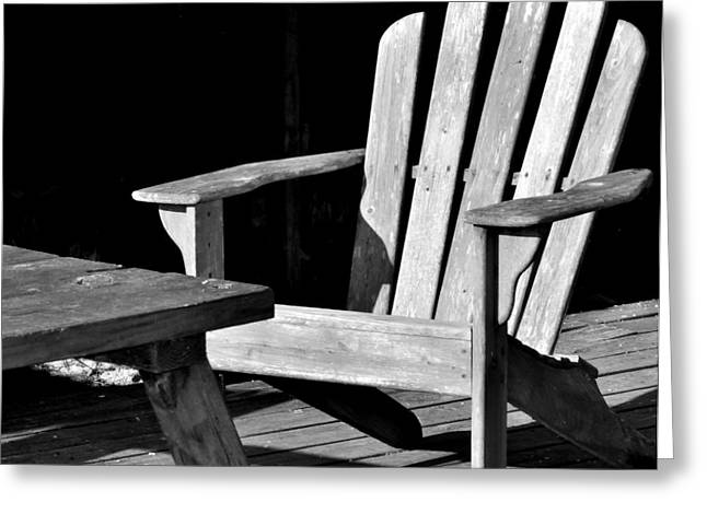 Lawn Chair Greeting Cards - Sit a Spell Greeting Card by Kari Tedrick