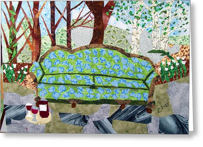 Wine Tapestries - Textiles Greeting Cards - Sit a While Greeting Card by Charlene White