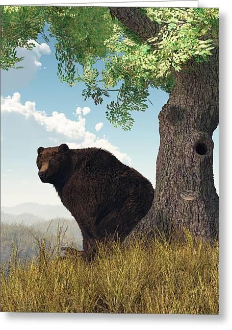 Brown Bear Digital Greeting Cards - Sitting Bear Greeting Card by Daniel Eskridge