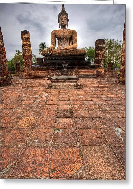 Church Pillars Greeting Cards - Sitting Buddha Greeting Card by Adrian Evans