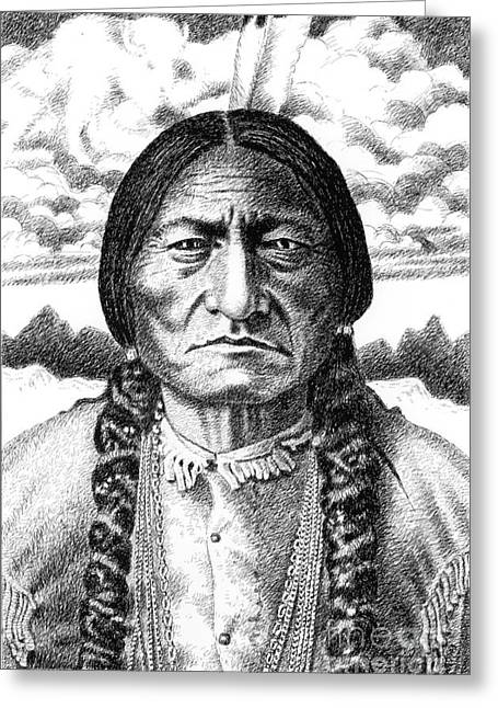 Chief Iron Tail Greeting Cards - Sitting-Bull Greeting Card by Gordon Punt