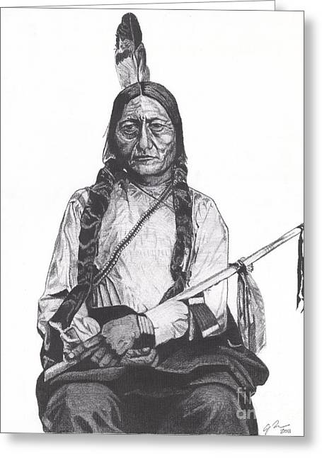 Chief Sitting Bull Greeting Cards - Sitting Bull Greeting Card by Jeff Ridlen