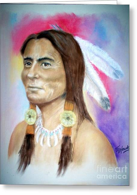 Sitting Pastels Greeting Cards - Sitting Bull Greeting Card by John De Young