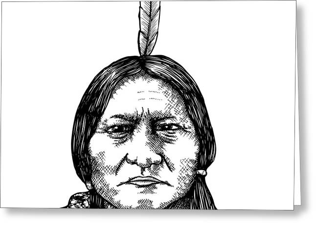 Chief Sitting Bull Greeting Cards - Sitting Bull Greeting Card by Karl Addison