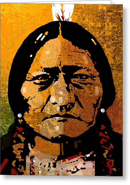 American Indian Portrait Greeting Cards - Sitting Bull Greeting Card by Paul Sachtleben