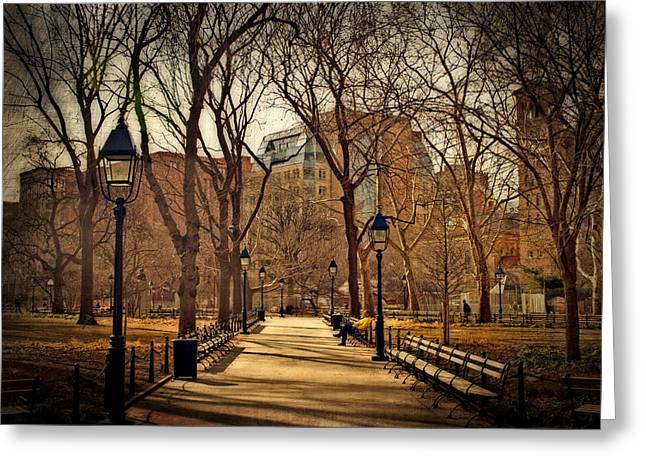 Park Benches Greeting Cards - Sitting In The Park Greeting Card by Kathy Jennings