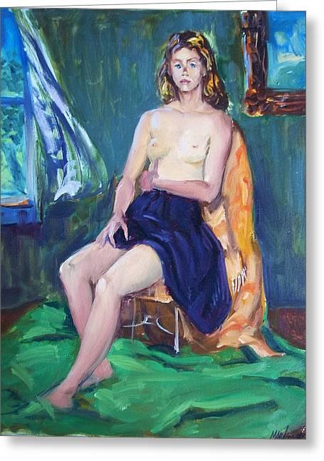 Caucasion Greeting Cards - Sitting Nude Greeting Card by Bill Joseph  Markowski
