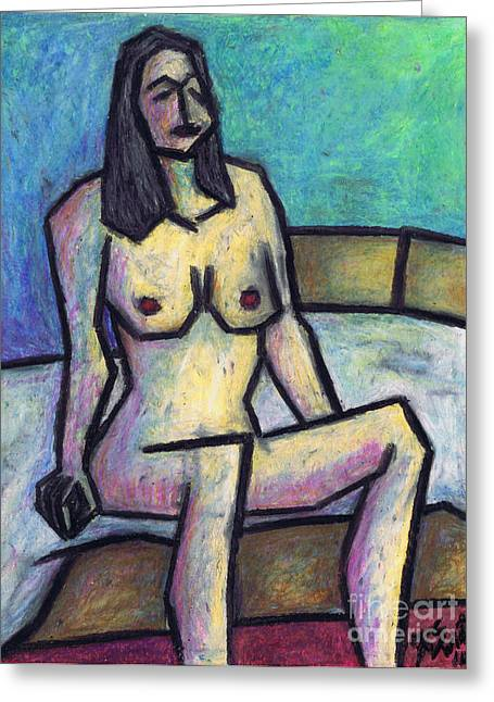 Sitting Pastels Greeting Cards - Waiting in the Nude Greeting Card by Kamil Swiatek