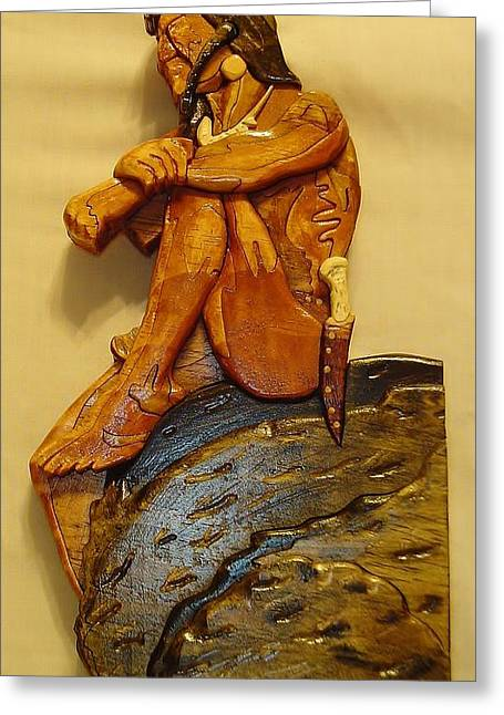Intarsia Sculptures Greeting Cards - Sitting on a Rock Greeting Card by Russell Ellingsworth