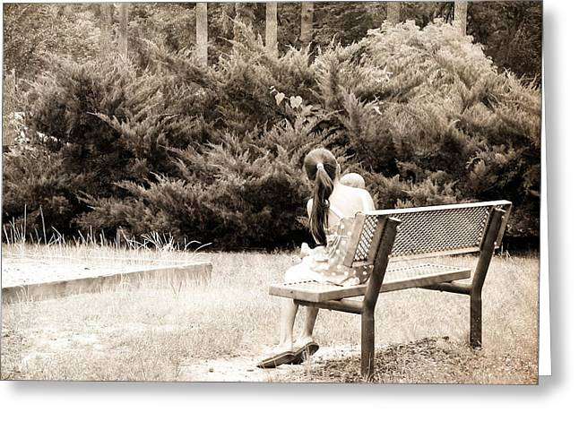 Toddlers Poster Greeting Cards - Sitting On The Bench Greeting Card by Ester  Rogers