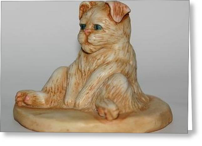 Kitten Sculptures Greeting Cards - Sitting Pretty Greeting Card by Robert Morin