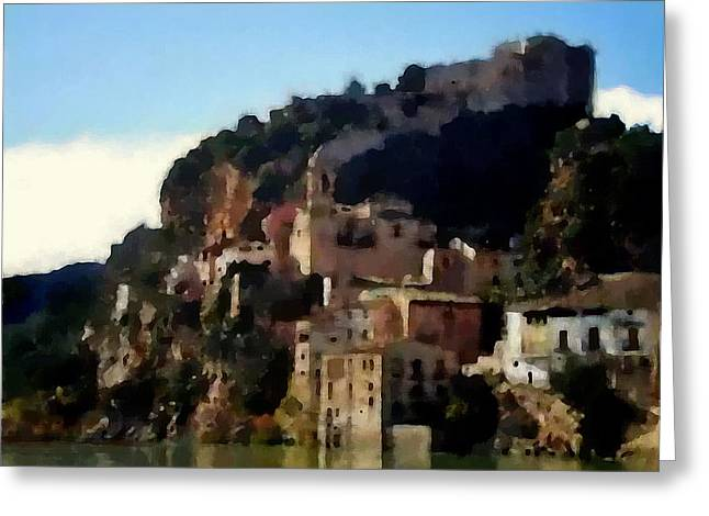 Party Invite Paintings Greeting Cards - Siurana Greeting Card by Jann Paxton