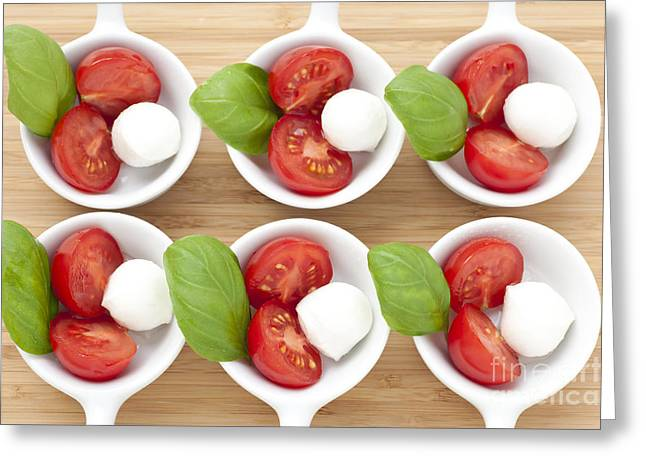 Mozzarella Greeting Cards - Six Caprese Appetizers Greeting Card by Charlotte Lake
