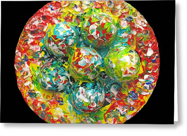Color Green Sculptures Greeting Cards - Six  Colorful  Eggs  On  A  Circle Greeting Card by Carl Deaville