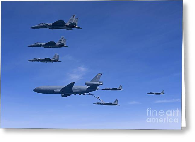 Refueling Greeting Cards - Six F-15 Eagles Refuel From A Kc-10 Greeting Card by HIGH-G Productions