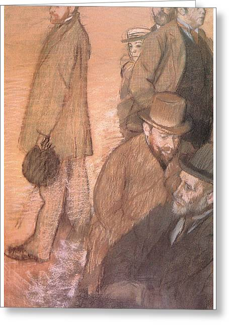 Friend Pastels Greeting Cards - Six Friends of the Artist Greeting Card by Edgar Degas
