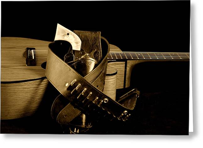 Guitar Pictures Greeting Cards - Six Gun in Holster and Guitar Greeting Card by M K  Miller