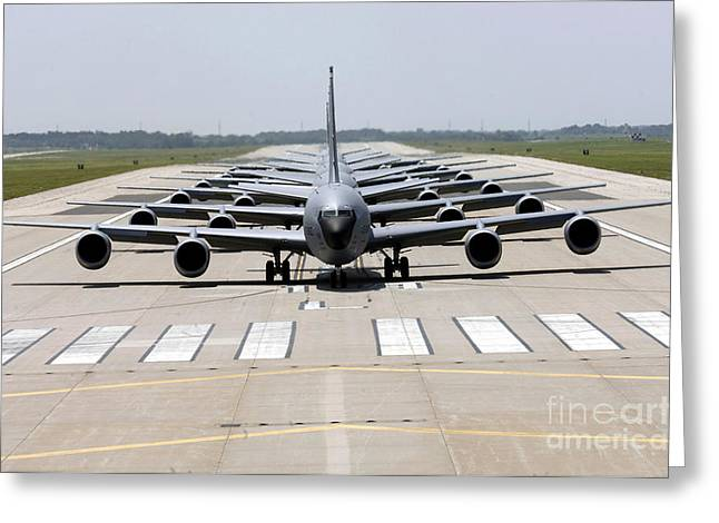 Taxiing Greeting Cards - Six Kc-135 Stratotankers Demonstrate Greeting Card by Stocktrek Images