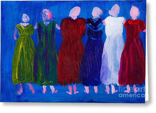 Posh Paintings Greeting Cards - Six Ladies in Dresses Greeting Card by Simon Bratt Photography LRPS
