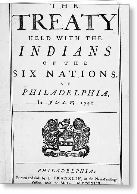Treaty Greeting Cards - Six Nations Treaty, 1742 Greeting Card by Granger