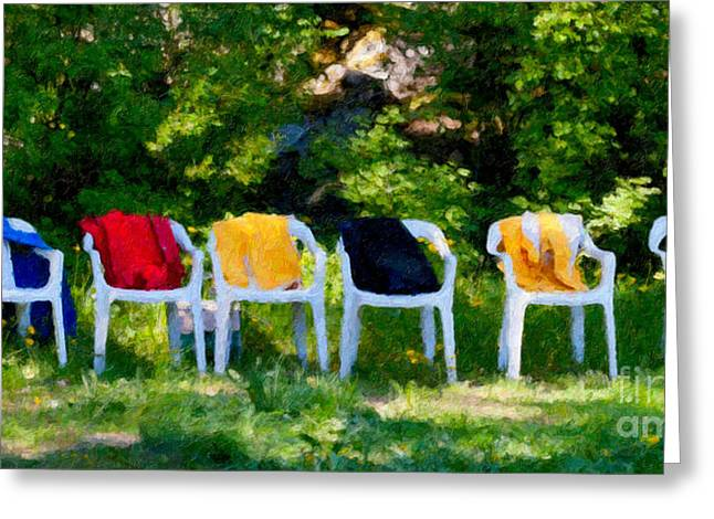 Chairs Mixed Media Greeting Cards - Six Summer Chairs Greeting Card by Ari Salmela