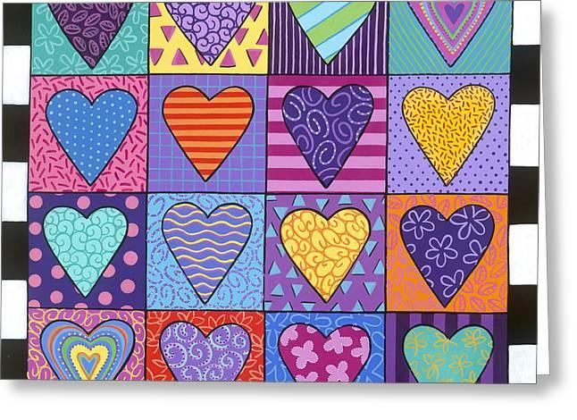 Carla Bank Greeting Cards - Sixteen hearts Greeting Card by Carla Bank