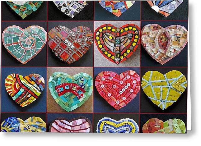 Collection Glass Art Greeting Cards - Sixteen Hearts Greeting Card by Gila Rayberg