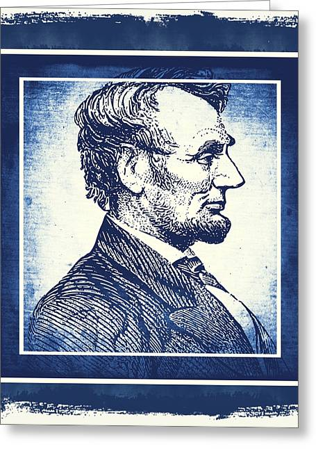 Patriotism Mixed Media Greeting Cards - Sixteenth President Blue Greeting Card by Angelina Vick